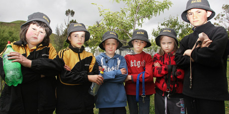 Six sad Kai Iwi School children and lamb minders who are now minus their little woolly mates. Photo / Bevan Conley