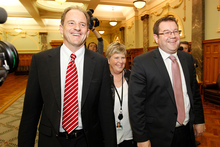 New Labour leader David Shearer and deputy leader Grant Robertson with party president Moira Coatsworth. Photo / Mark Mitchell