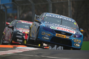 Mark Winterbottom's Ford Falcon performing in the Gold Coast 600 in October, which was event 12 of the 2012 Australian V8 Supercar Champion Series. Photo / EDGE Photographics