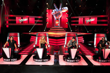 Keith Urban, Delta Goodrem, Joel Madden and Seal judging Australia reality show The Voice. Photo / Supplied