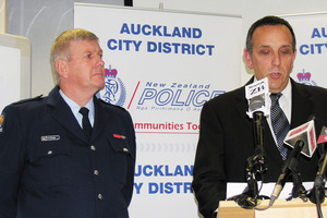 Chief Inspector John Palmer, left, with Detective Inspector Mark Benefield. Photo / NZPA