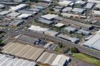 Aerial view of Mainzeal's 1.1ha warehouse and office property at 51-53 Carbine Rd, Mt Wellington - property red outlined. Photo / Bruce Clarke