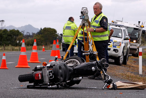 The Harley Davidson motorcycle involved in the collision on State Highway 1 and Shoemaker Rd intersection, Waipu. Photo / John Stone
