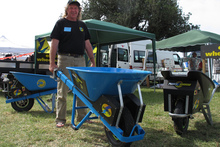 Northland inventor Steve Baldry shows off his motorised wheelbarrow. Photo / Peter de Graaf