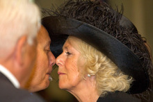 Camilla, Duchess of Cornwall hongis Ngati Whatua's Taiaha Hawke as she attends the Armistice Day Commemoration at Auckland War