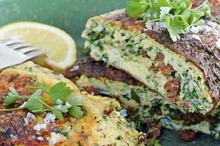 Haloumi, chorizo and parsley souffle omelette. Photo / Donna Hay Magazine