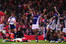 Wales player Sam Warburton (l) reacts as Samoa celebrate their third try during the International Match between Wales and Samoa. Photo / Getty Images.