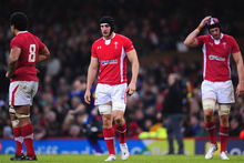 Wales player Sam Warburton (c) and team mates react to defeat during the International Match between Wales and Samoa. Photo / Getty Images. 