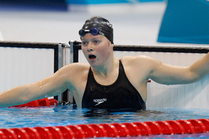 Natalie Wiegersma catching her breath after competing in her Olympic Games 400m individual medley heat. Photo / Brett Phibbs