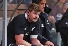 Adam Thomson sits in the sin bin following after being yellow-carded. Photo / Getty Images