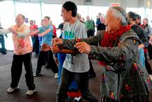 Taking part in an exercise session on World Diabetes Day yesterday are (from left) Lupe Hakaumotu, Edward Hakaumotu and Dilisa Taungapeau, all of Dunedin. Photo / Linda Robertson
