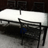 Vanessa snapped this photo of hail-covered outdoor furniture at her Dannemora home. Photo / Vanessa Adriaanse