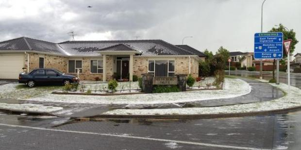 Hail covered properties in the eastern suburbs of Auckland today. Photo / Saagar Haribhai