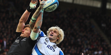 Adam Thompson of the All Blacks competes with Richie Gray of Scotland in the lineout. Photo / Getty Images