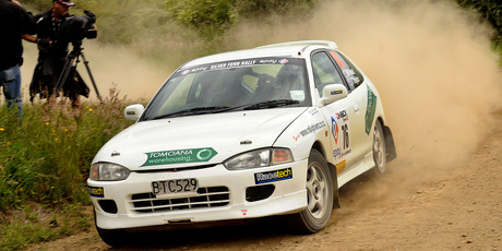 Trevor Taylor his way to winning the short Silver Frond part of the Silver Fern rally. Photo / Geoff Ridder