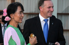 Prime Minister John Key meets with Aung San Suu Kyi at a hotel Naypyitaw which is the capital of the South East Asian nation of Burma. Photo / Alan Gibson