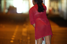 A transgender prostitute looks for work near the Hunters Corner area on a typical Thursday night in Papatoetoe. Photo / Greg Bowker