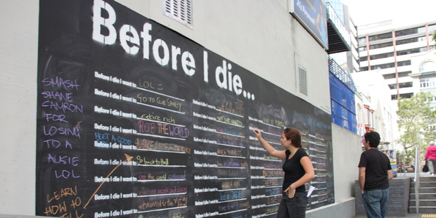 """Before I die"" is an interactive urban art project which has popped up in Auckland Central. Photo / File"