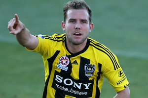 Jeremy Brockie scored two goals for the Phoenix in their 3-0 win over the Jets at Hunter Stadium. Photo / Getty Images.