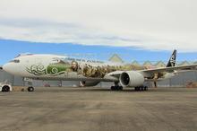 The Air New Zealand's new Hobbit-themed aircraft. Photo / David Barker