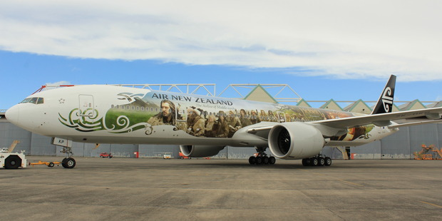 The Air New Zealand's new Hobbit-themed aircraft. Photo / David Barker