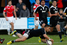 Frae Wilson of New Zealand Maori All Blacks scores a try during the RFU Championship XV and New Zealand Maori All Blacks. Photo / Getty Images.