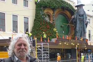 Production designer Dan Hennah outside Wellington's Embassy Theatre, displaying the Gandalf facade. Photo / Rebecca Quilliam