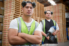 Mike Alesana (left) and Dylan Matoofa found work at a pallet firm through the help of a foundation working group.  Photo / Greg Bowker