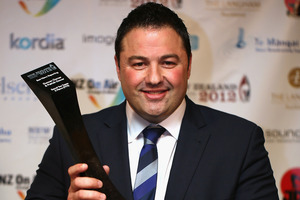 TV3 Political Editor Duncan Garner with his award for Best News Reporting during the New Zealand Television Awards. Photo / Getty Images
