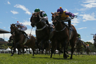 Rollout The Carpet (right) beats Waterford and Fix (left) in the NZ 1000 Guineas at Riccarton. Photo / Getty Images