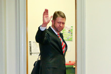 Labour's economic development spokesman David Cunliffe makes his way to the caucus room at Parliament. Photo / Getty Images 