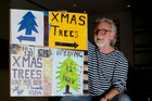 Dick Frizzell has referenced tree sales in his contribution to the giant Advent calendar to light up Wynyard Quarter.  Photo / Sarah Ivey