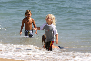 Gwen Stefani's sons Kingston and Zuma, who is in a Snapper Rock shirt. Photo / Supplied