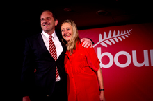 Labour leader David Shearer, with his wife Anuschka Meyer, receives a rapturous response from delegates for his speech. Photo / Dean Purcell