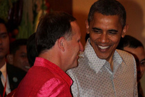 John Key said United States President Barack Obama thought his shirt was fetching. Photo / Alan Gibson