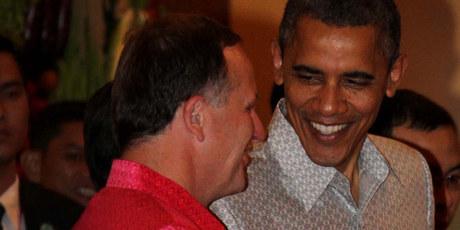 John Key said United States President Barack Obama thought his shirt was fetching. Photo / Alan Gibson