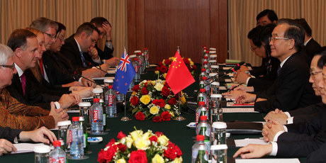 New Zealand Prime Minister John Key and his delegation meet with Chinese Premier, Wen Jiabao, and a large Chinese delegation before the Gala Dinner at the 21st ASEAN Summit. Photo / Alan Gibson