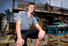 Carpentry student Jay Leech is one of the 88 students enrolled at the Auckland West Vocational Academy, at Massey High School. Photo / Dean Purcell