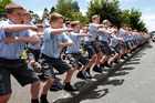 A mass haka was performed to motorcycle riders heading north from Upper Hutt yesterday. Photo / Mark Mitchell