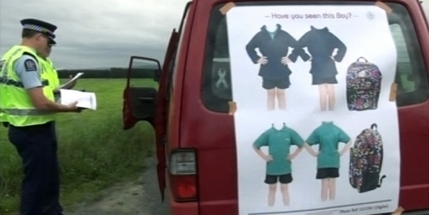 Police show images of an abducted boy's school clothing during the search in Timaru. Photo / 3News