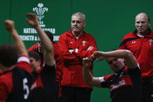 Wales' head coach Warren Gatland (centre back) does not see the last two defeats as serious blips. Photo / Getty Images