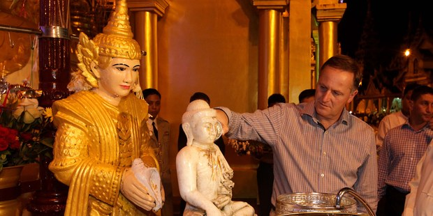 Prime Minister John Key during his visit to the Shwedagon Pagoda in Yangon, Burma. Photo / Alan Gibson