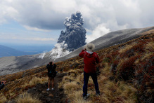 The eruption came from Te Maari Crater on the western side of Mt Tongariro yesterday. Photo / Paul Cowan