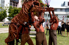 For Joey's three puppeteers the job of bringing the war horse to life is a demanding one. Photo / Dean Purcell