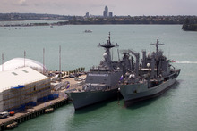 The two South Korean warships moored at Queens Wharf yesterday.  Photo / Sarah Ivey