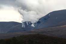 Mt Tongariro's eruption seen from SH 46. Photo / Bevan Conley