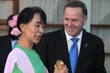 Prime Minister John Key meets with Aung San Suu Kyi in Burma. Photo / Alan Gibson