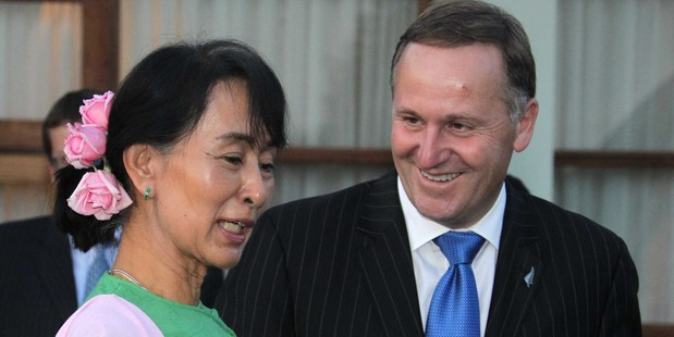 Prime Minister John Key meets with Aung San Suu Kyi in Burma. Photo / Alan Gibson