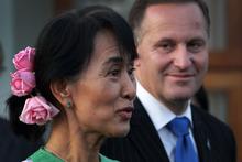 Prime Minister John Key meets with Aung San Suu Kyi at a hotel in Naypyitaw, Burma. Photo / Alan Gibson