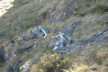 The wreckage from a helicopter carrying Campbell Montgomerie and Hannah Timings was spotted on Wednesday evening. Photo / Supplied